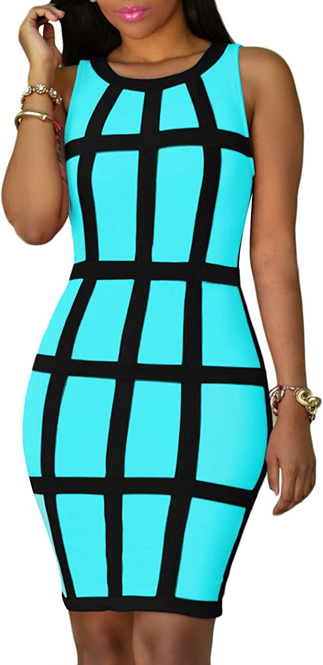 OMZIN Women Sexy Sleeveless Bodycon Dress Party Club Bandage Dresses Plus Size