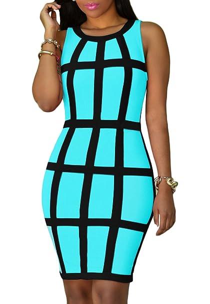 a551eaf1b489 OMZIN Women Sexy Sleeveless Bodycon Dress Party Club Bandage Dresses ...