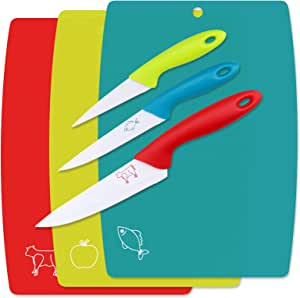 WELLGRO Juego de tablas de cortar (3 piezas, incluye 3 cuchillos, plástico y metal, antibacterias), color azul, rojo y verde