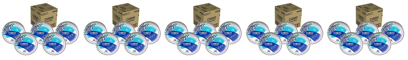 Dixie Everyday Disposable Paper Plates, 10 1/16 Inch Plates, 220 Count (5 Packs of 44 Plates); Designs May Vary (5 BOXES OF 5 PACK) by Dixie
