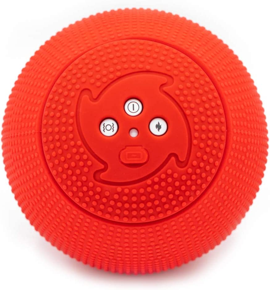 MyoStorm Heating Vibrating Massage Ball Roller for Deep Tissue Muscle Recovery Therapy and Pain Relief w/ 3 Speed Vibration + Heat Setting (Red)