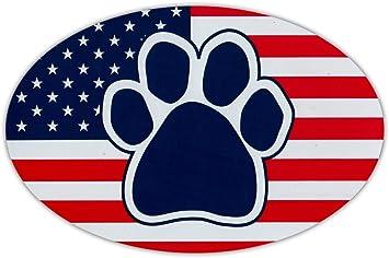 USA Dog Paw United States Flag Refrigerators Cars Oval Shaped Car Magnet