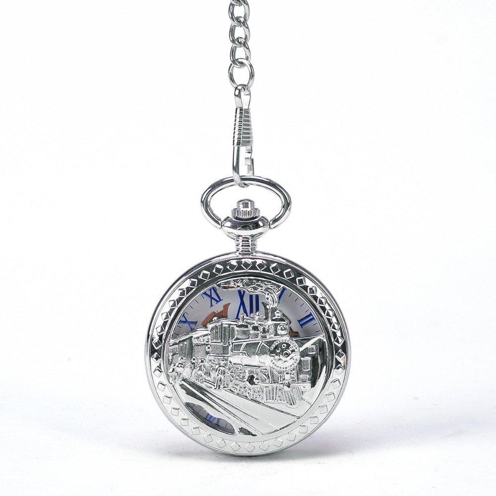 Silver Train To Travel Men Mechanical Pocket Watch Hollow Steampunk Skeleton Round Watch Gift