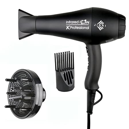 JINRI Hair Dryer 1875W Fast Professional Dryer with Negative Ions Ceramic Ionic, 3 Heat 2 Speed Settings, Black