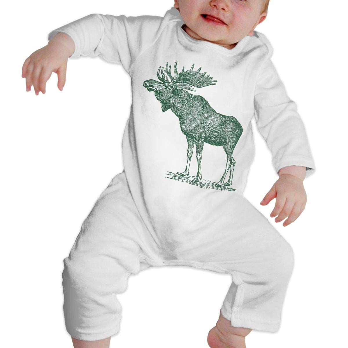 Mri-le1 Baby Girl Organic Coverall Moose Sketch Infant Long Sleeve Romper Jumpsuit