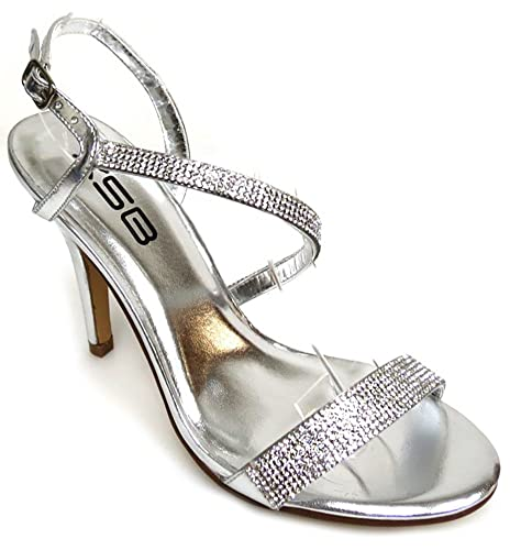 198f8db0d984d1 Image Unavailable. Image not available for. Color  Fourever Funky Jeweled  Strappy Anklet Platform Sandal Formal Heels Silver