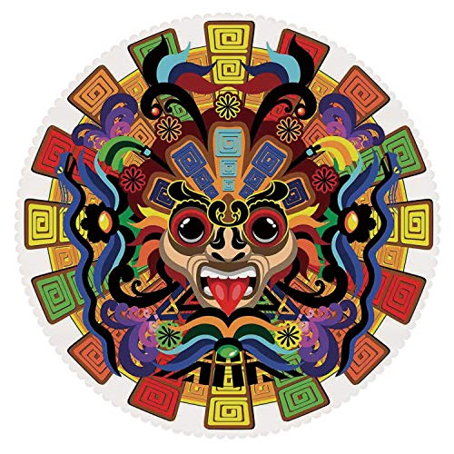 iPrint Upscale Round Tablecloth [ Mesoamerican Decor,Colorful Aztec