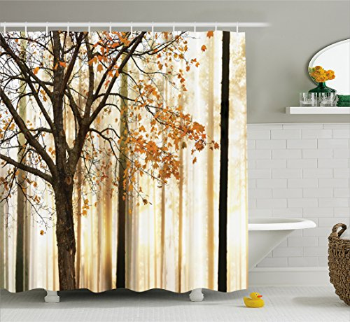 Ambesonne Shower Curtain Fall Trees Print Mom Gift Ideas Polyester Fabric Hooks Included, Orange Ivory Brown Beige