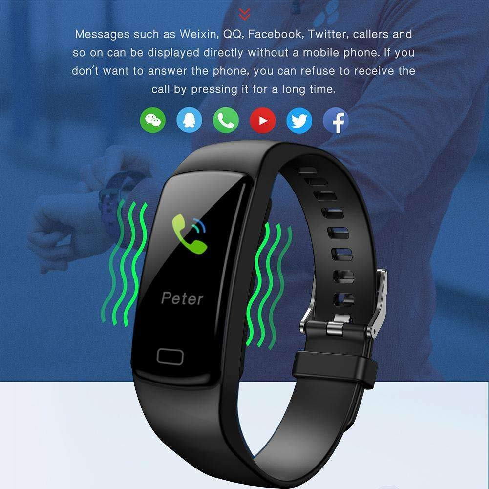 Bluetooth Bracelet Watch for Android, KingTo IP67 Waterproof Smart Watch Heart Rate Blood Pressure Monitoring Smart Bracelet Steps Calories Fitness Activity Tracker Call Reminder (Black)