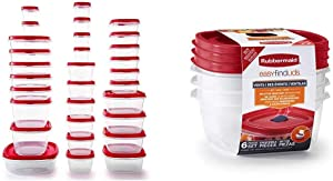 Rubbermaid Easy Find Vented Lids Food Storage Containers, Set of 30 (60 Pieces Total), Racer Red & Easy Find Lids Food Storage and Organization Containers, 3-Pack, Racer Red