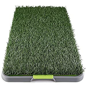 Dog Grass Pee Pad Potty – Artificial Grass Patch for Dogs – Pet Litter Box Training Pads Best for Puppy Indoor Turf – Fresh Fake Porch Lawn Toilet Mat Bathroom Tray – Doggie Trainer Balcony Patio Mats