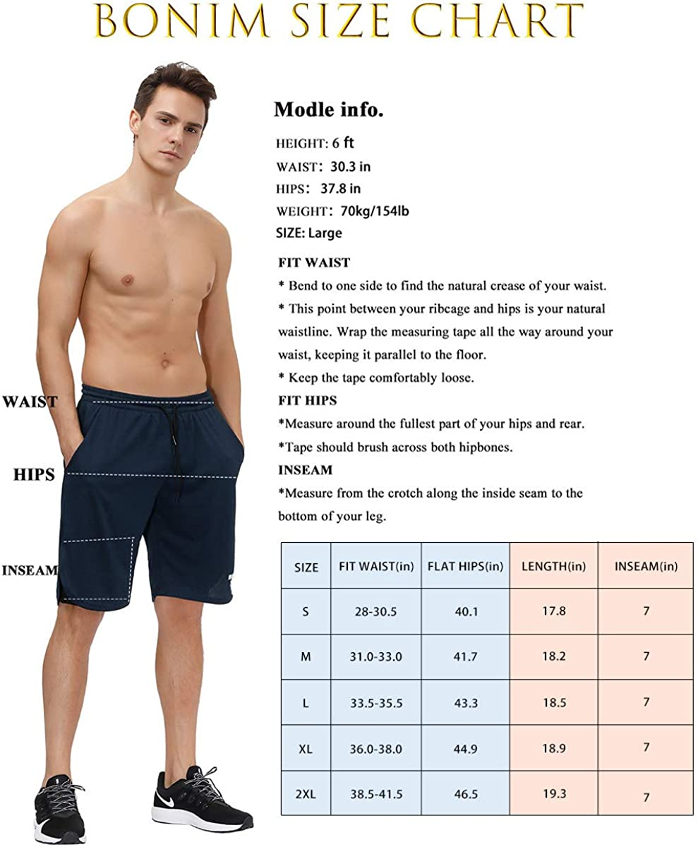 bonim Mens 2 in 1 Running Shorts, Quick Dry Workout Athletic Shorts with Pocket & Towel Loop: Clothing