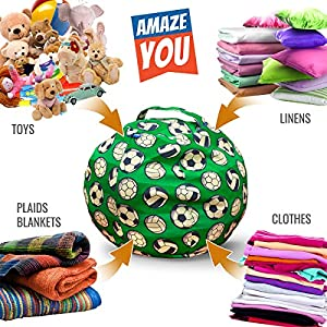 "Amazeyou EXTRA LARGE Stuffed Animal Storage Bean Bag Chair – Stuff 'n Sit – Premium Cotton Canvas – Comfy Pouf Organizer Children and Kids (36"", Soccer)"