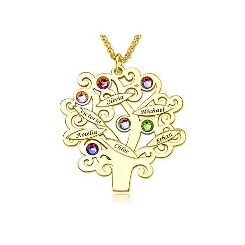 Bokning Collar Personalizado Del Nombre De Piedra Natal Del árbol
