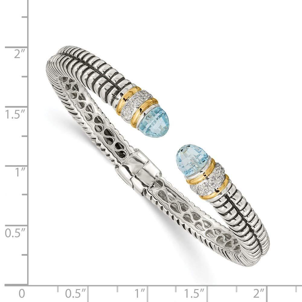 IceCarats 925 Sterling Silver 14k Sky Blue Topaz Diamond Cuff Bracelet Gemstone Bangle Hinged by ICE CARATS (Image #3)