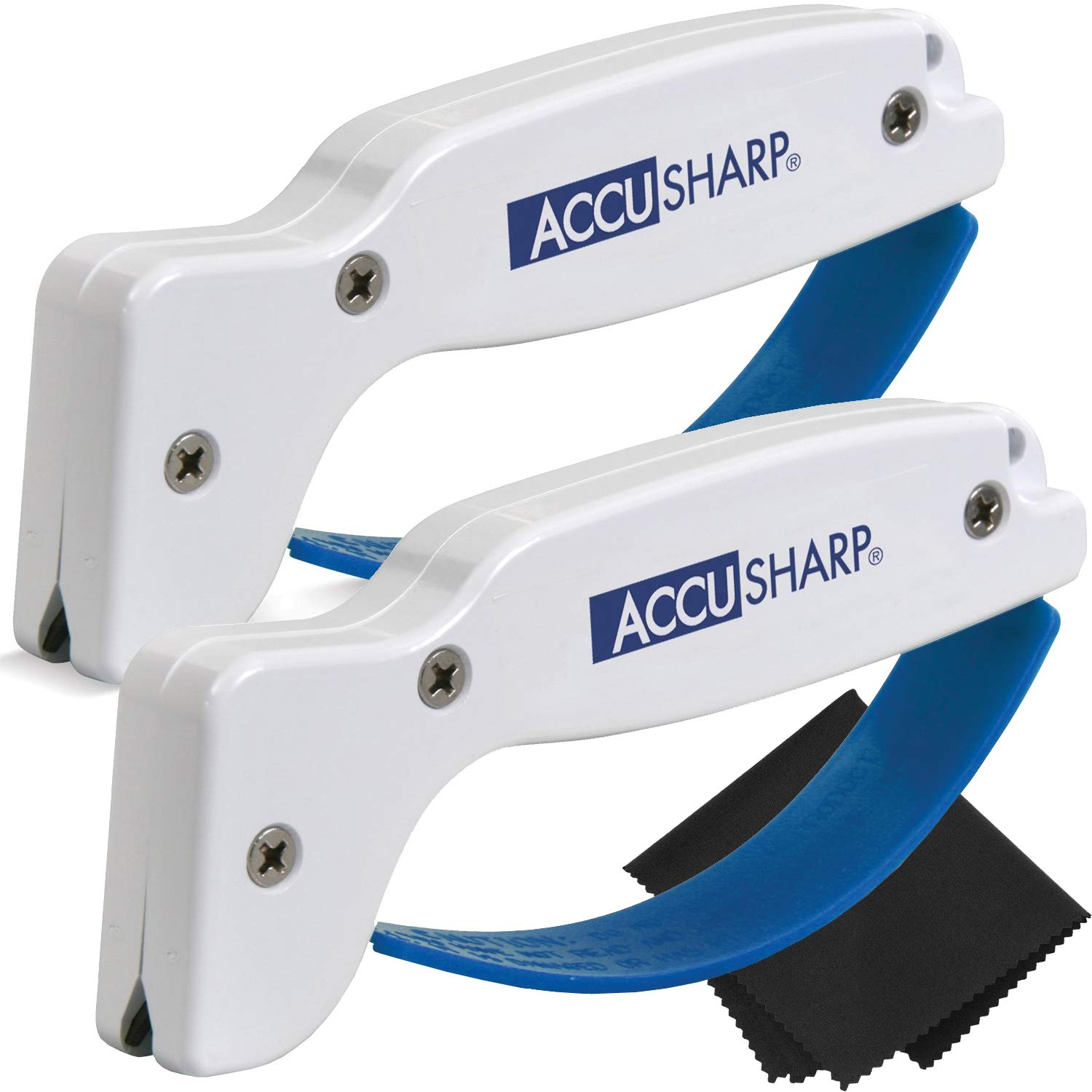 AccuSharp Knife and Tool Sharpener 001 (2-Pack with Z-Cloth) Bundle by AccuSharp