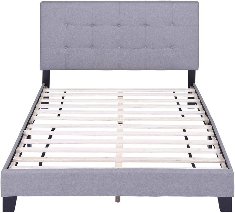 FLIEKS Bed Frame Upholstered Platform Mattress Foundation with Wooden Slat Support and Tufted Headboard Grey, Full