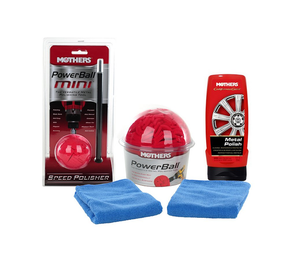 Mothers Powerball And Mothers 3' Mini Powerball Plus One Metal Polish And Two Bonus Microfiber Towels