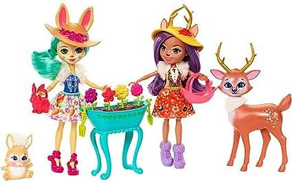 Enchantimals Conjunto jardín mágico, muñeca con mascota y accesorios (Mattel FDG01)