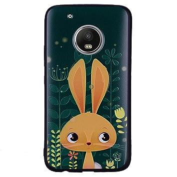Wanxida Funda Motorola Moto G5 Plus, Carcasas Suave TPU Silicone/Funda Ultra Delgada/Caso Anti Rasguños Anti Choque con un Diseño Único-Conejo