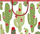 Entertaining with Caspari 9698B3 Merry Cactus 11-3/4 by 4-3/4 by 10'' Gift Bag, Large, Multicolored