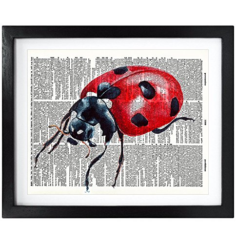 8X10 Unframed Ladybug Upcycled Vintage Dictionary Art Print Book Art Print Home Decor Funny Print Kids Room Art ()