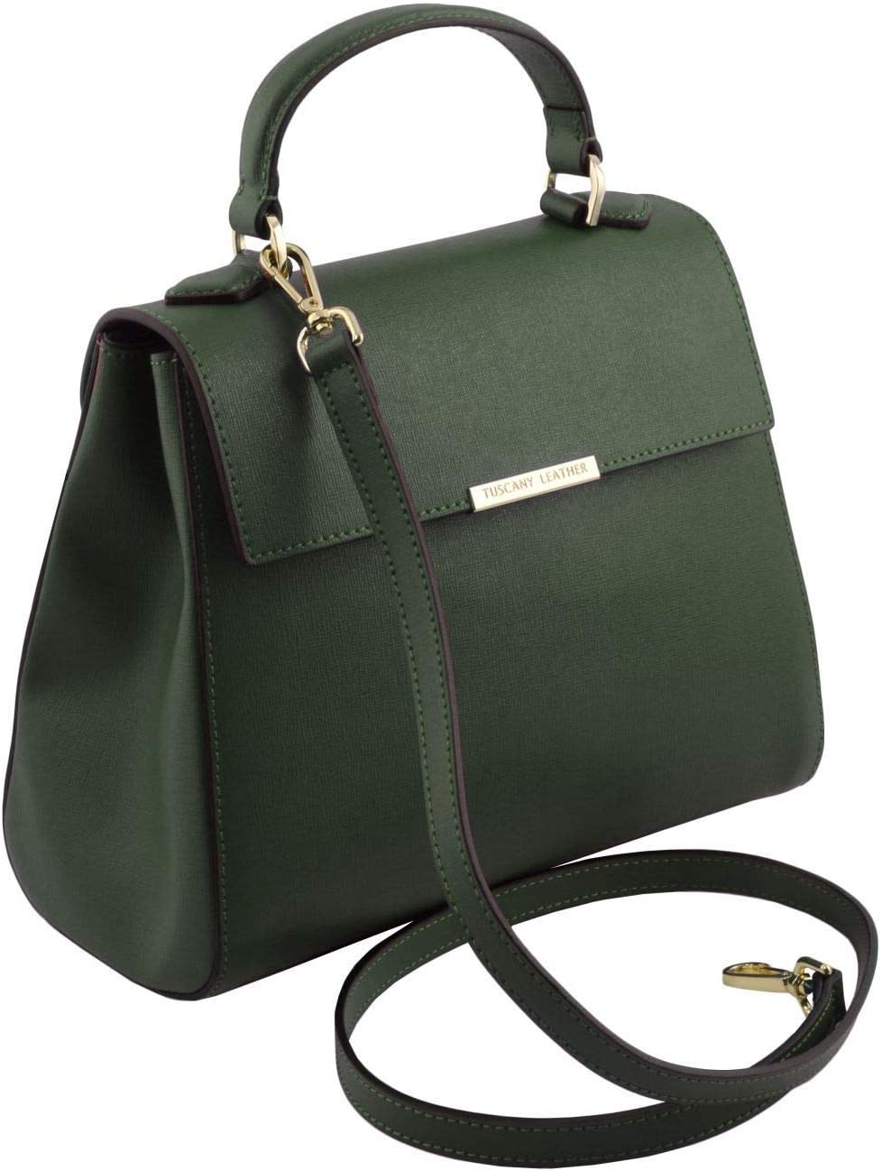 Tuscany Leather TLBag Small Saffiano leather duffel bag Forest Green