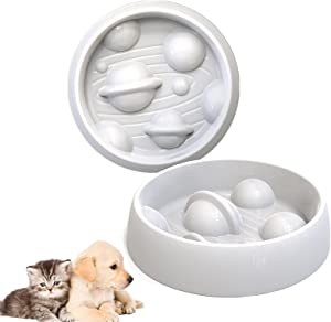 Slow Feeder Dog Bowl for Large Dogs:Durable Melamine Anti-Chocking Dog Feeder Starry Sky Design Fun Interactive Stop Bloat Dog Food Bowls to Slow Down Eating Non-Slip Dog Bowls for Dogs&Cats
