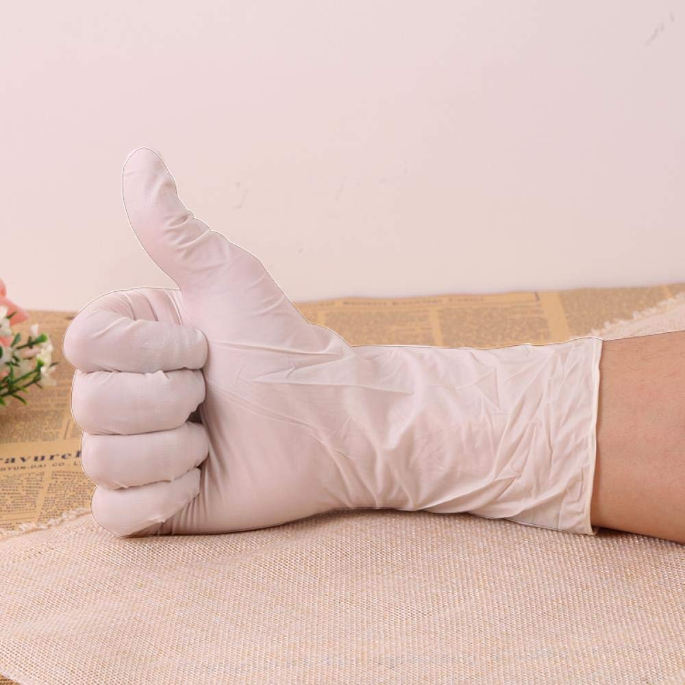 Disposable latex gloves, rubber waterproof surgical labor, food-grade durable thicker gloves, XL, 100 white