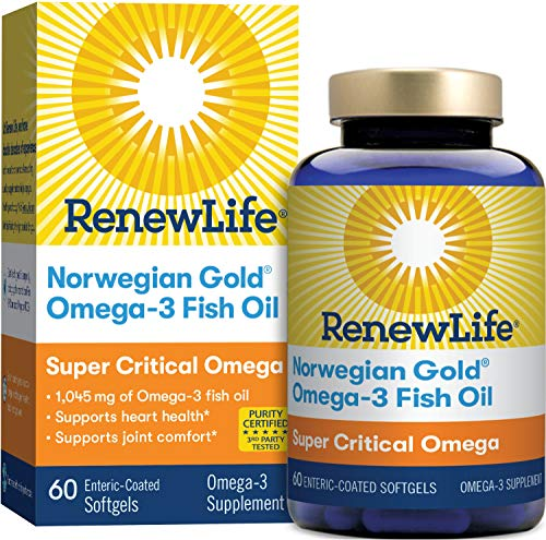 Renew Life Norwegian Gold Adult Fish Oil - Super Critical Omega, Fish Oil Omega-3 Supplement - Gluten & Dairy Free - 60 Burp-Free Softgel Capsules (Packaging May Vary)