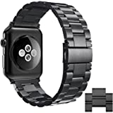 Simpeak Band for Apple Watch 3 42mm, Adjustment Stainless Steel Replacement Band for 42mm iWatch Series 1 2 3, With Link Removal Tool & 2pcs Links - Black