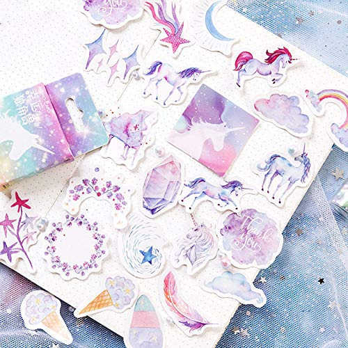 DierCosy 46pcs//BoxStarry /& Unicorn AdhesiveSticker stick label album diary notebook decoration Christmas toy gift for kids friends