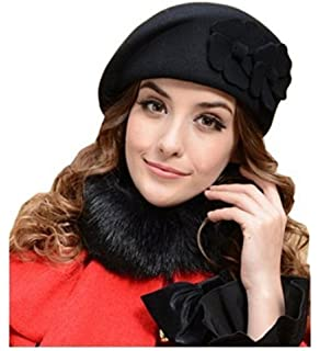 fc7631095ac MAXGOODS Women s Winter Beret Warm Wool Cap Hat Elegant British Style  (Black)