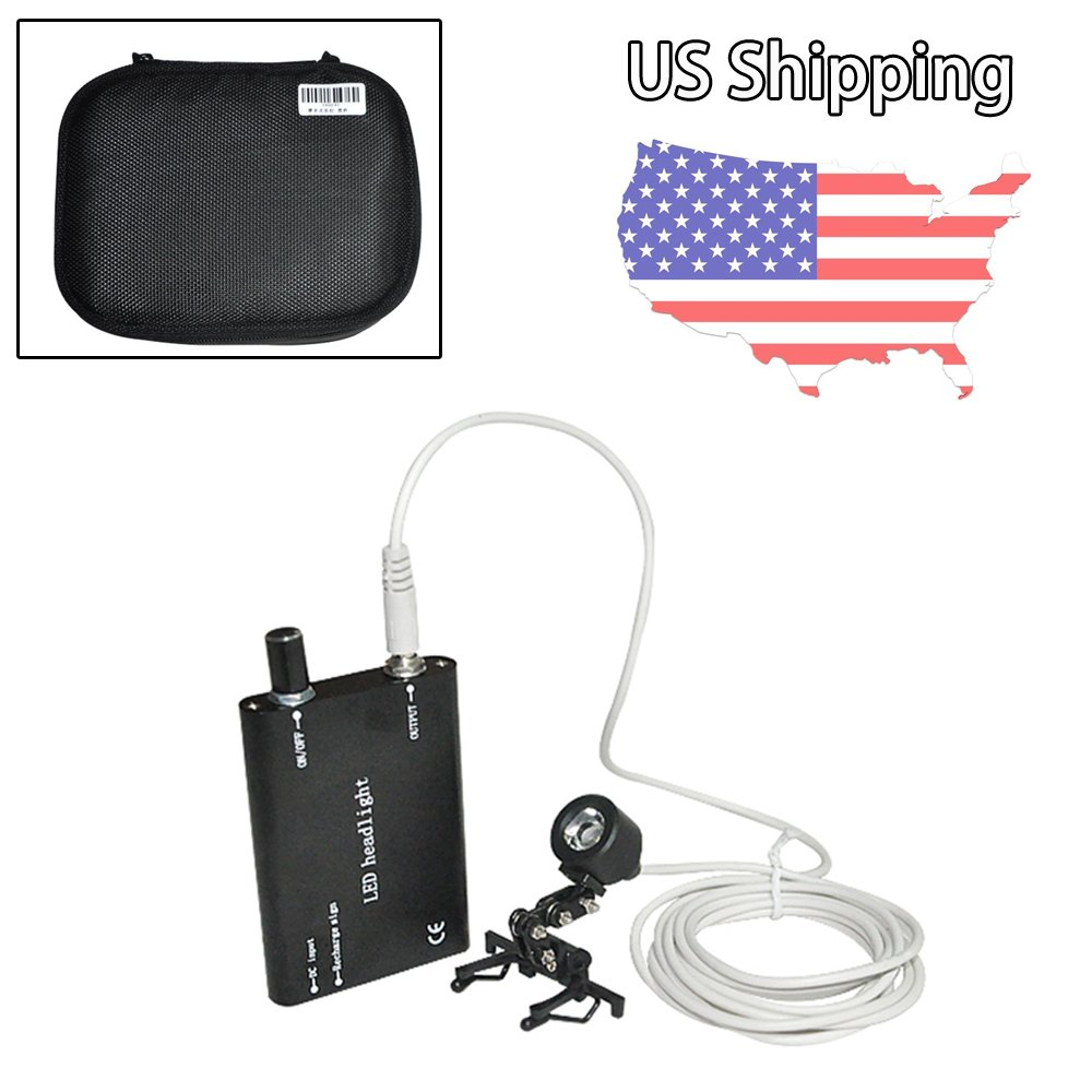 USA Shipping! Black Portable Head Light Lamp for Dental Loupes Surgical Medical Binocular Loupes Protective Bag Included