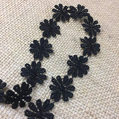 5 Yard Lot, Margarita Daisy Flower Venise Lace Trim, Gorgeous, Black, 1