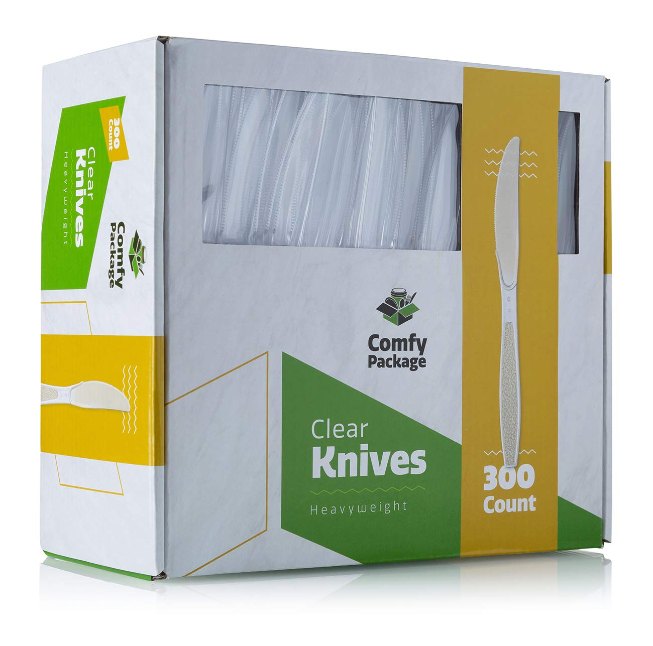 [300 Pack] Heavyweight Disposable Clear Plastic Knives by Comfy Package
