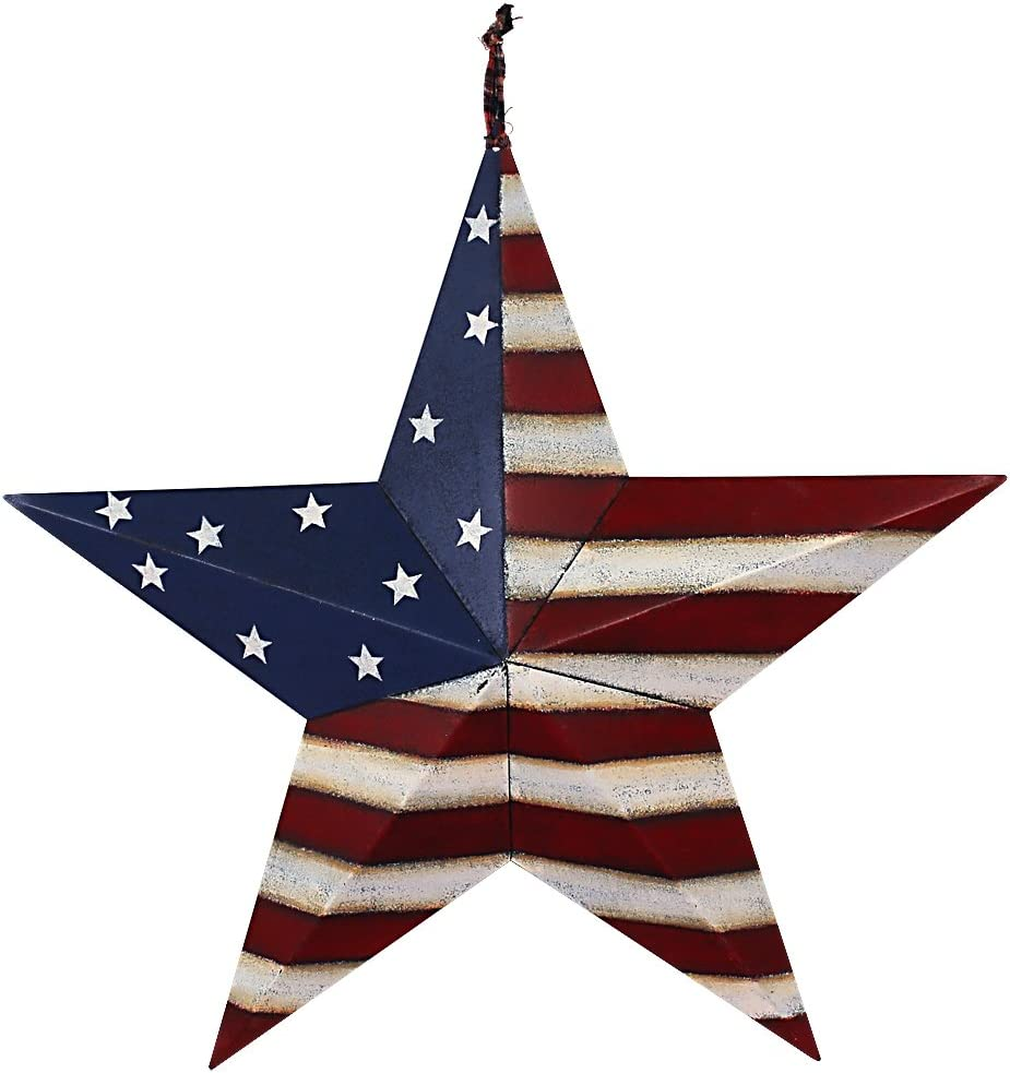 Patriotic Barn Star Metal Wall Decor Indoor Outdoor Wall Hanging Primitive Decor Star Ornaments 4th of July Decoration