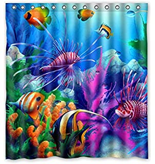 Curtains Ideas coral reef shower curtain : Amazon.com: Sea Seabed Fish Corals Underwater Ocean Tropical ...