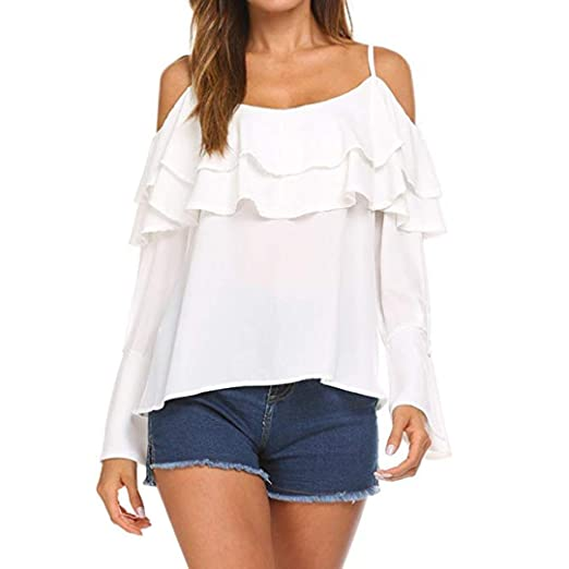 c0e78b2b5950f Malbaba Women Long Sleeve Flare Cold Shoulder Top Casual Overlay Falbala  Blouse Tops T-Shirt