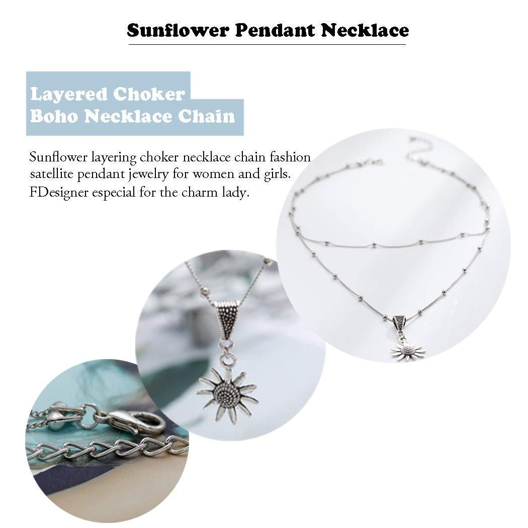 Leiothrix Sunflower Choker Necklace Silver Layered Satellite Chain Collar Pendant Jewelry Boho Decorative Accessories Jewelry for Women