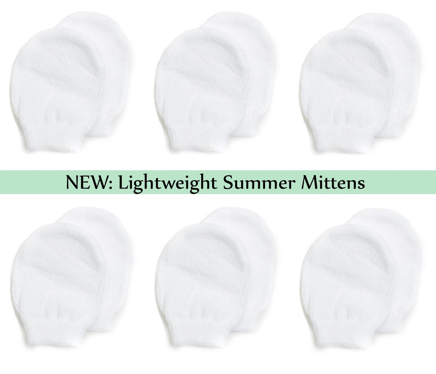 d3bf92e787c3 Amazon.com  Lightweight Summer Mittens for Newborns by Nurses Choice (6  Pairs of White Cotton No Scratch Mittens)  Baby