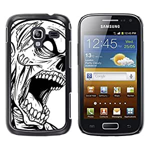 EJOY---Cubierta de la caja de protección la piel dura para el / Samsung Galaxy Ace 2 / --Zombie Cráneo gótico B & W