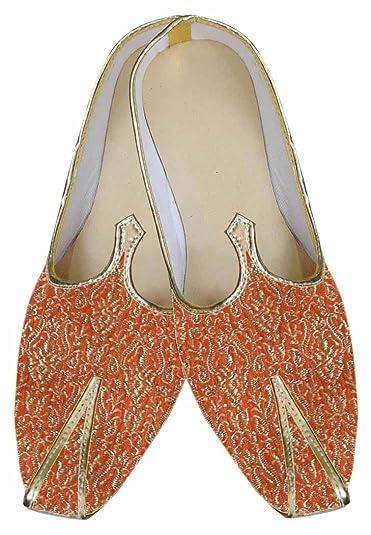 Mens Orange Brocade Wedding Shoe MJ0008