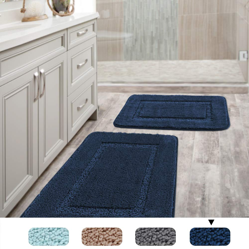 Gray H.Versailtex Upgrade Non-Slip Bathroom Rug Shag TPR Backing Shower Mat Machine-Washable Tufted Bath Rugs for Kitchen Carved Concentric Rectangle Pattern 1 Pack 20 inches by 32 inches