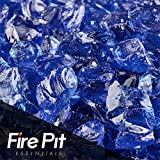Deep Sea Blue Small Crushed Fire Glass 1/4″ Firepit Glass 10 Pounds