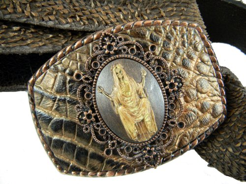 Whimsical Originals Open Arms Skeleton Cameo Buckle Bronz...