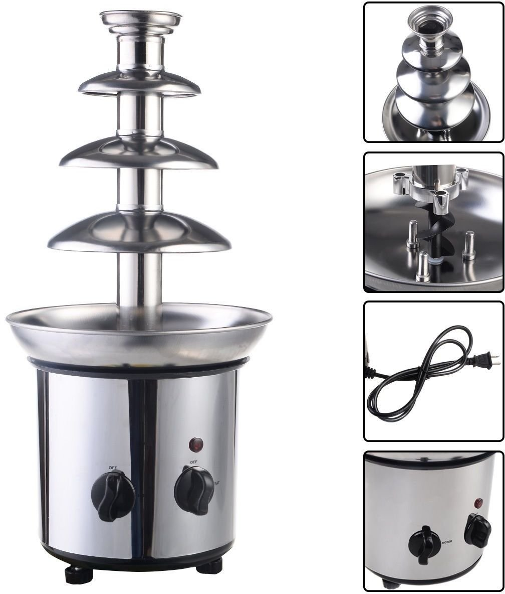 (Ship from USA) Chocolate Fondue Fountain 4 Tiers Commercial Stainless Steel Hot Luxury Party /ITEM NO#E8FH4F854123550