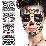 Floral Day The Dead Sugar Skull Temporary Face Tattoo Kit(4pack)