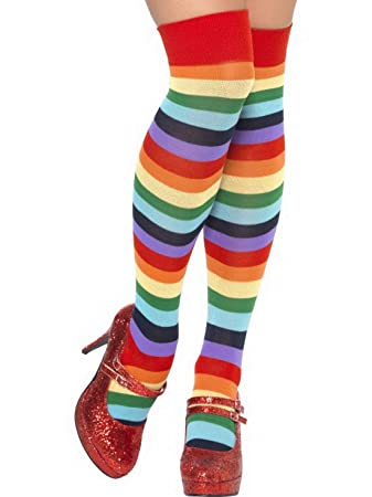 38a323afbbf3e Luxuspiraten - Kostüm Accessoires Zubehör Bunte Damen Zirkus Clown  Ringel-Socken Strümpfe Overknees Stockings,