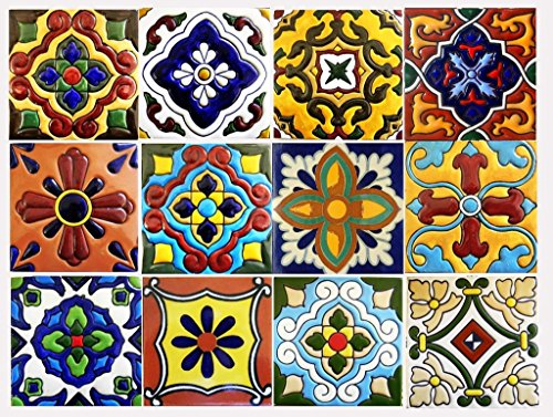 Tile Stickers Mexican Spanish 24pc 4x4in Peel and Stick for kitchen and bath Tr001-4